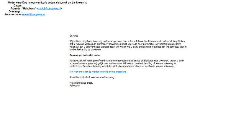 Valse e-mail 'Rabobank' over verkeerd uitloggen