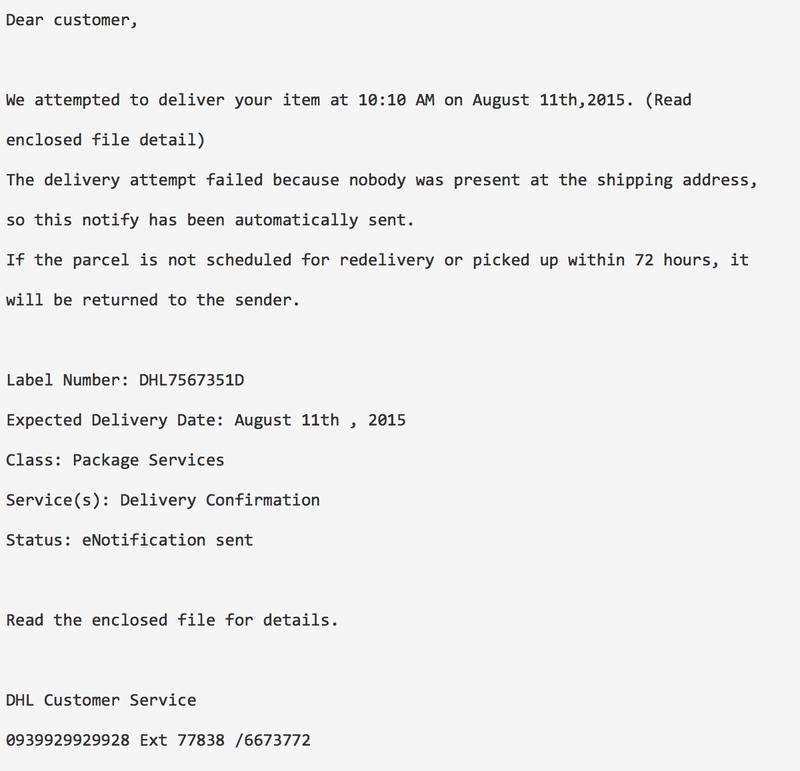 Malware-mails 'DHL' in omloop