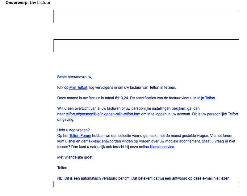 Pas op voor phishingmail 'Telfort'