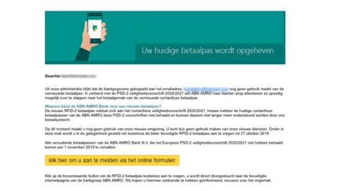 Mail van 'ABN AMRO' over opgeheven betaalpas is nep