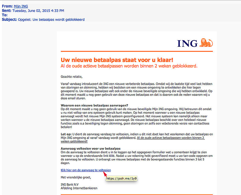 Valse mail ING over de nieuwe betaalpas in omloop