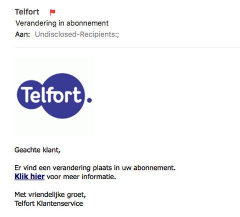 Valse e-mail Telfort: 'verandering in abonnement'