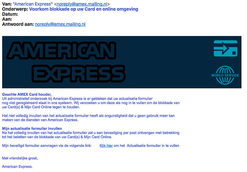 Valse e-mail 'American Express' over 'actualisatieformulier'