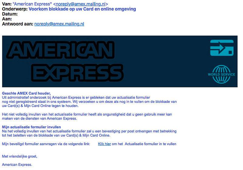 Valse e-mail 'American Express' over 'actualisatieformulier'