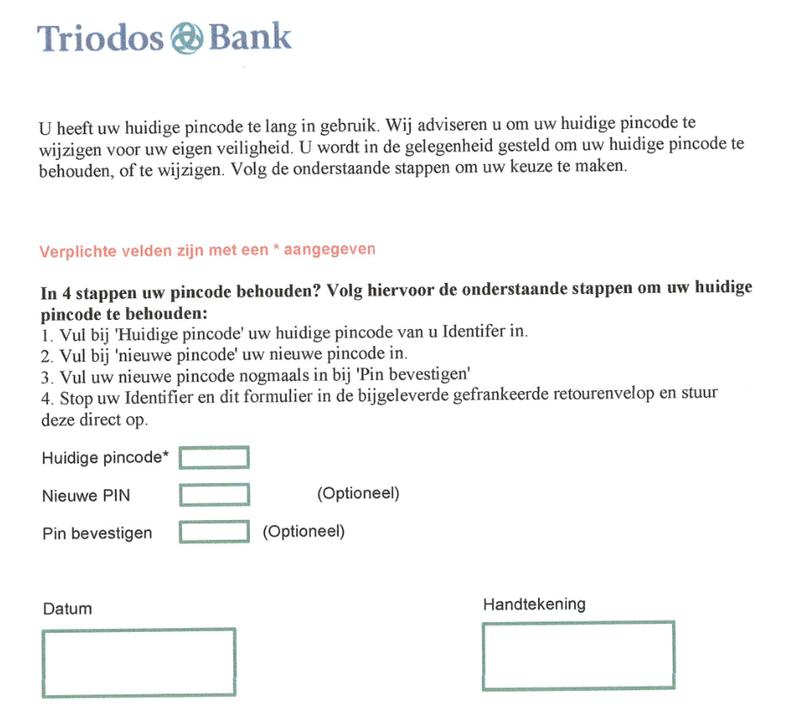 Nepbrief 'Triodos' over onbruikbare Identifier
