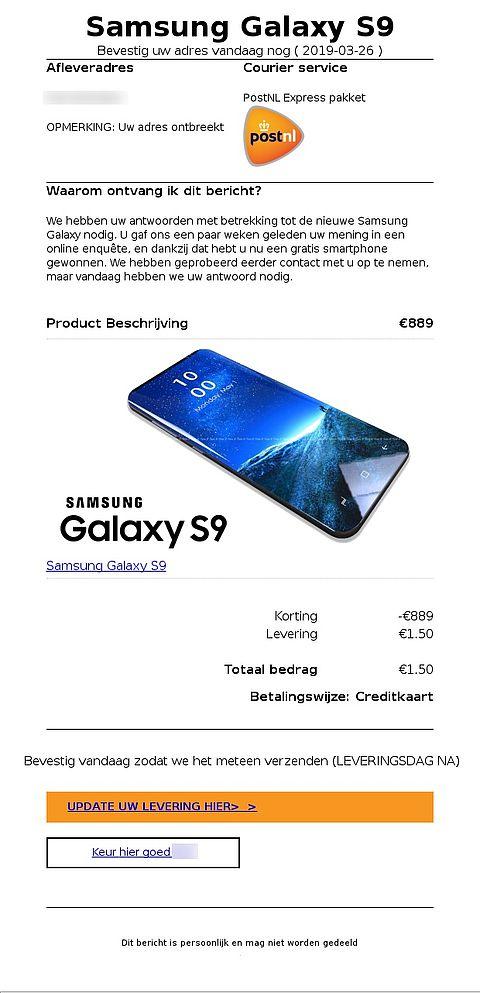 Trap niet in mail over gewonnen Samsung smartphone en ontbrekend adres