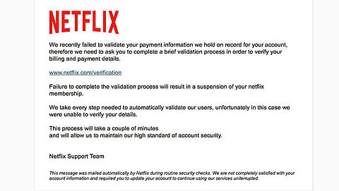 Pas op! 'Netflix'-mail over mislukte betaling is nep