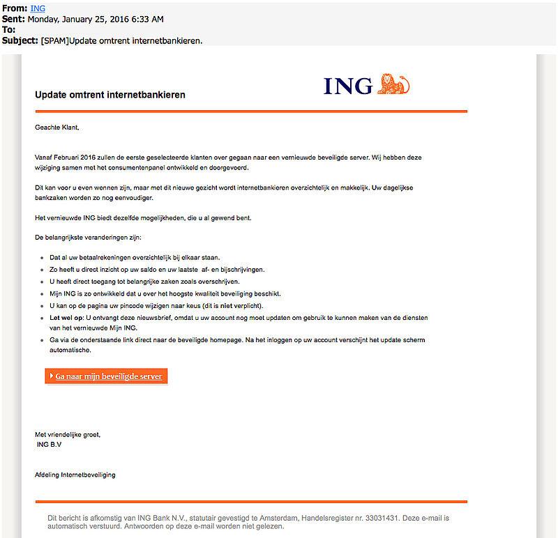 Opnieuw nepmail ING over update internetbankieren