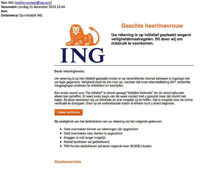 Phishingmail 'ING' over verificatie account