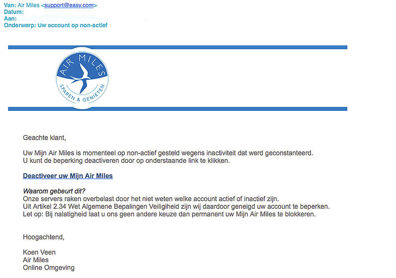 Valse-email 'Air Miles' over blokkeren account