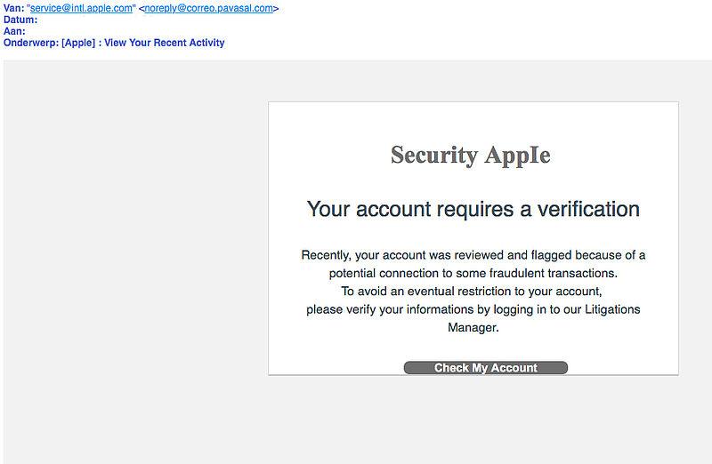 Pas op voor valse e-mail 'Security AppIe'