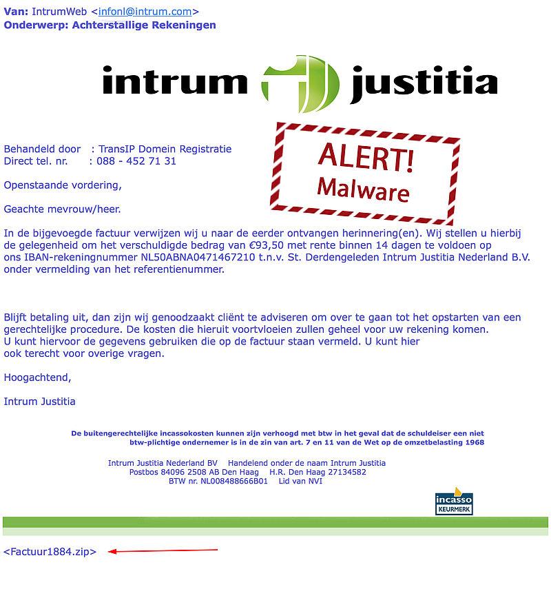 Weer nepmails Intrum Justitia in omloop