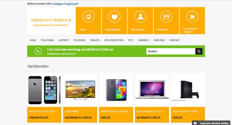 'Henser-electronica.nl ript logo en Kvk-gegevens'
