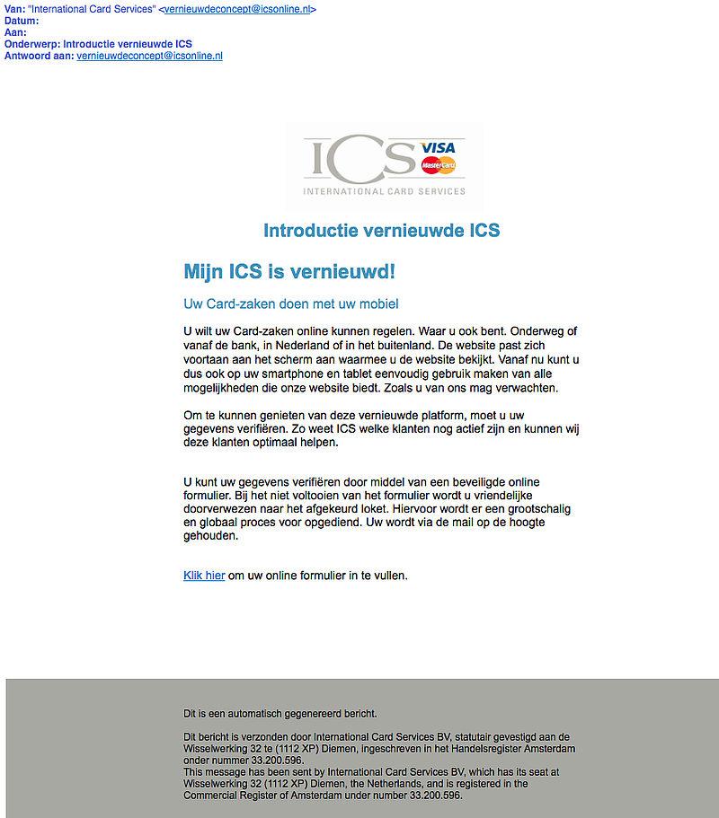 Phishingmail 'ICS' over mobiel zaken regelen