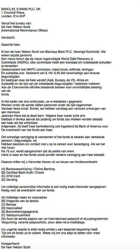 Bizarre e-mail verstuurd uit naam Barclays Bank