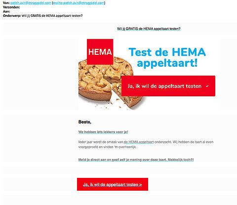 Misleiding in e-mail 'HEMA appeltaart testen'