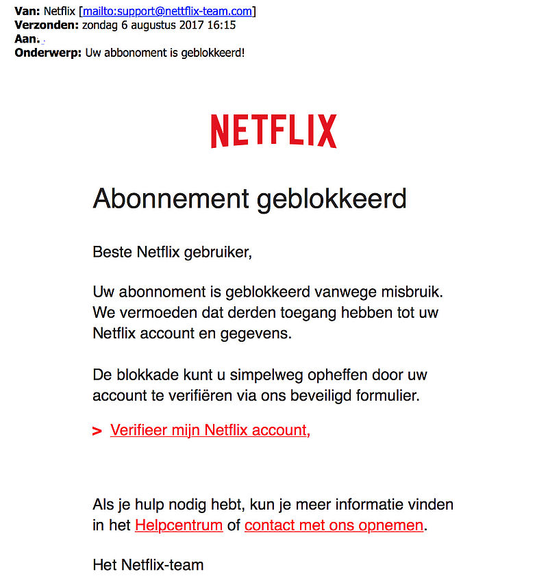 Netflix-fans opgelet: veel nepmails over blokkade account in omloop