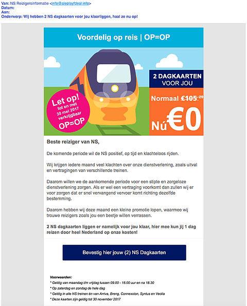 Valse e-mail 'NS' over gratis kaarten blijft populair