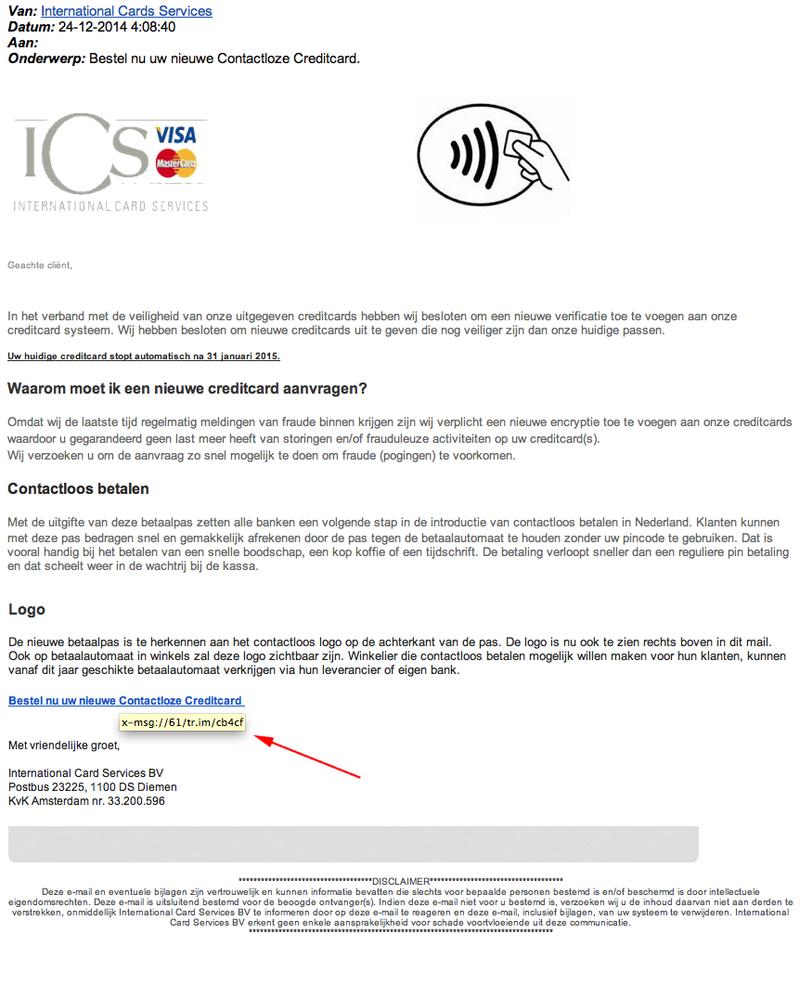 Valse e-mail Visa: 'uw creditcard verloopt!'