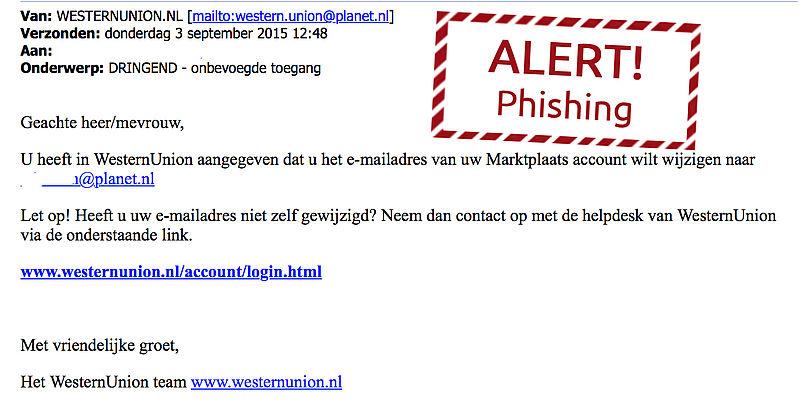 Mail Western Union over gewijzigd Marktplaats-mailadres is phishing!