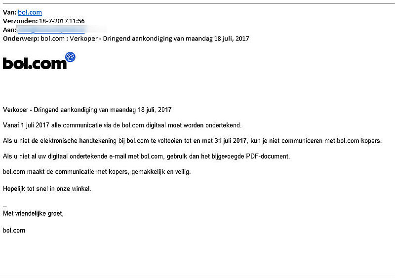 Malware in bijlage valse e-mail Bol.com