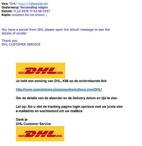 Pas op voor valse e-mails over DHL-zending!