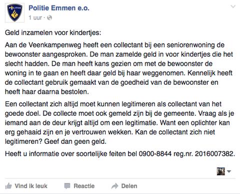 Politie waarschuwt voor nepcollectant