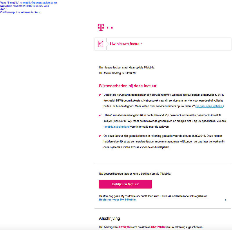 Ook malware e-mails verstuurd namens 'T-Mobile'