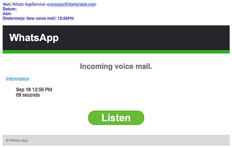 E-mail 'WhatsApp' over voicemail bevat malware