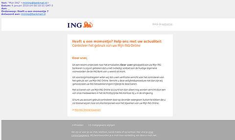 Trap niet in phishingmail van 'ING' over voldoen aan Algemene Voorwaarden