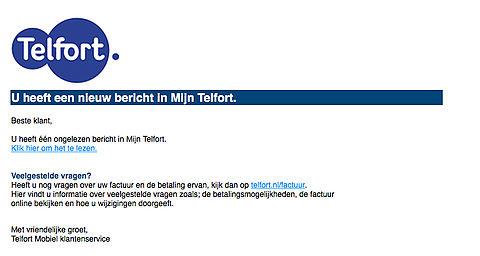 Criminelen versturen valse e-mail 'Telfort' over ongelezen bericht