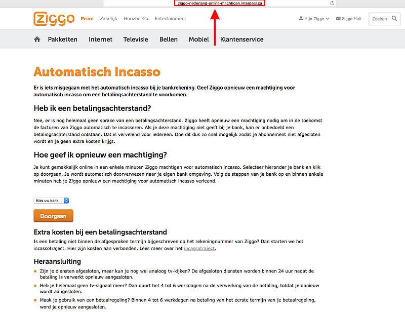Ziggo website opnieuw nagemaakt