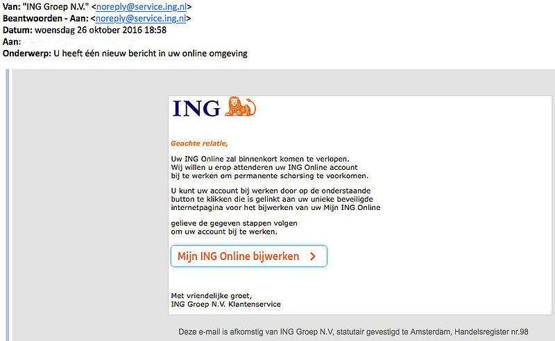 Nieuwe phishingmail 'ING'