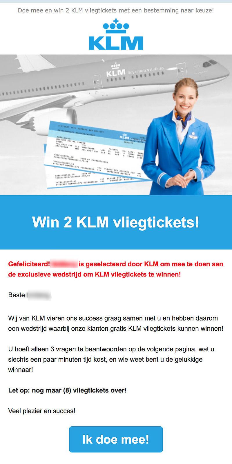 Laat je niet misleiden door winactie 'KLM'