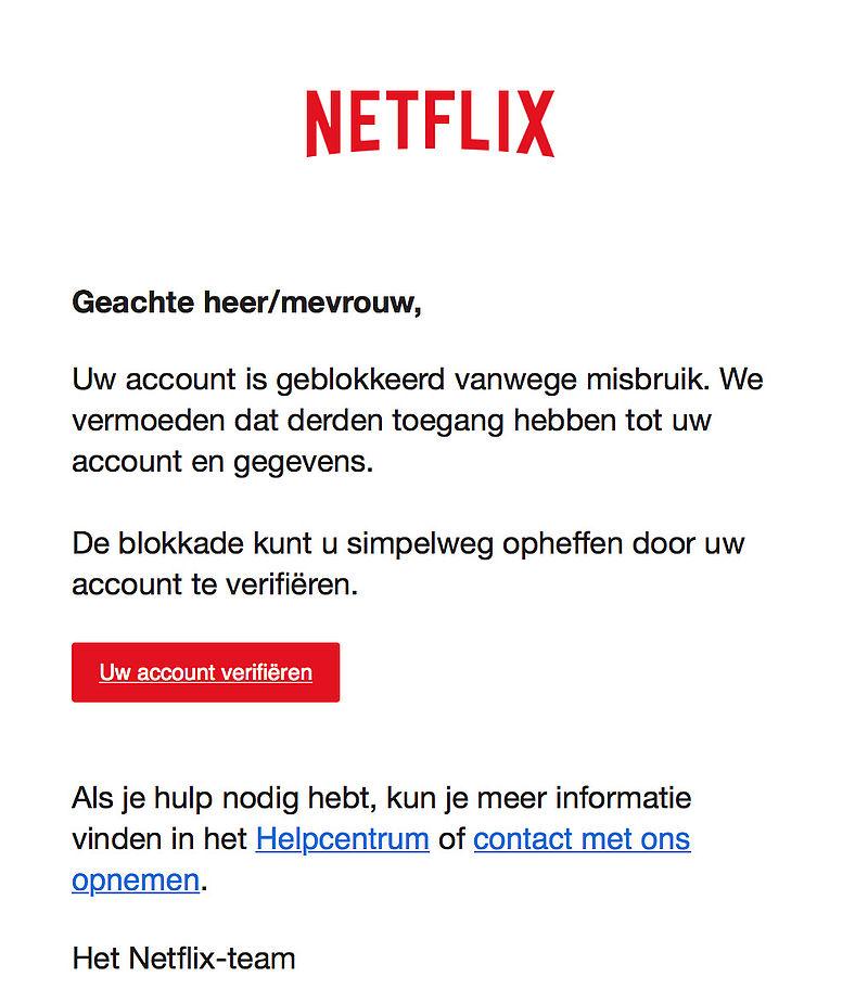 Let op! Phishing e-mails 'Netflix' in omloop