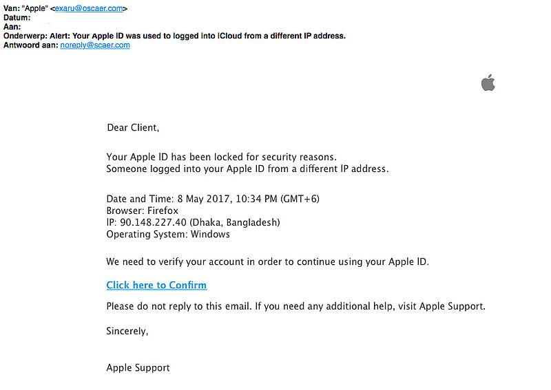 E-mail over geblokkeerd Apple ID? Deze is nep!