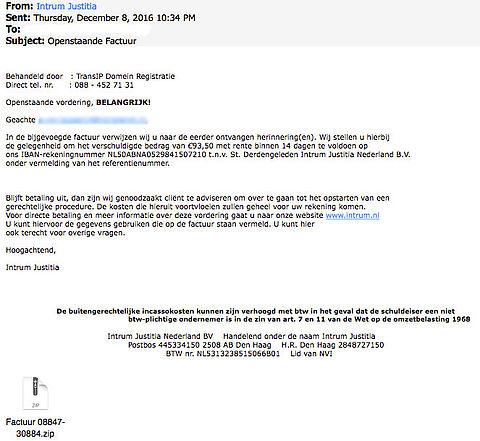 Criminelen sturen gevaarlijke mail 'Intrum Justitia'