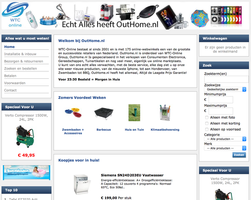 'Pas op voor nepwebshop www.outhome.nl'