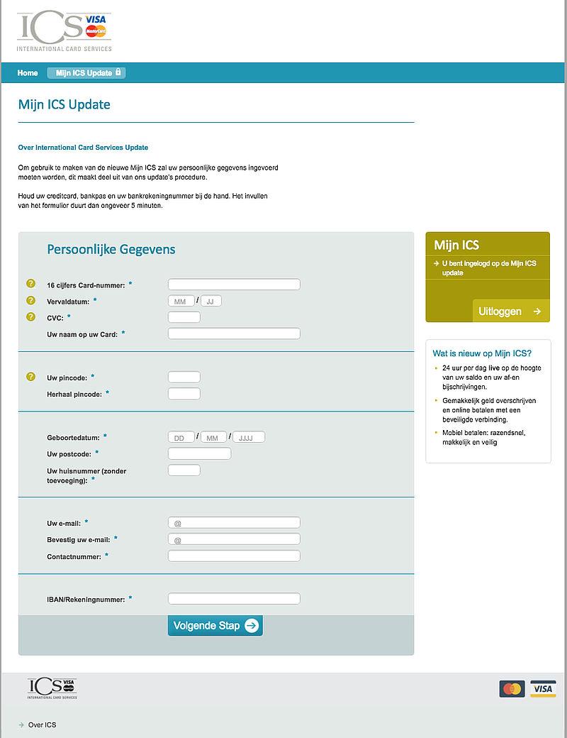 Phishingmail 'ICS': Mijn Card Online Update