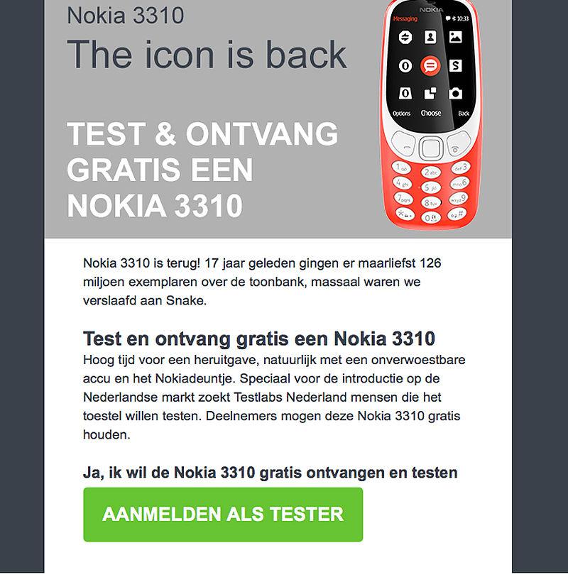 Oplichters spelen in op nostalgie via misleidende actie Nokia 3310