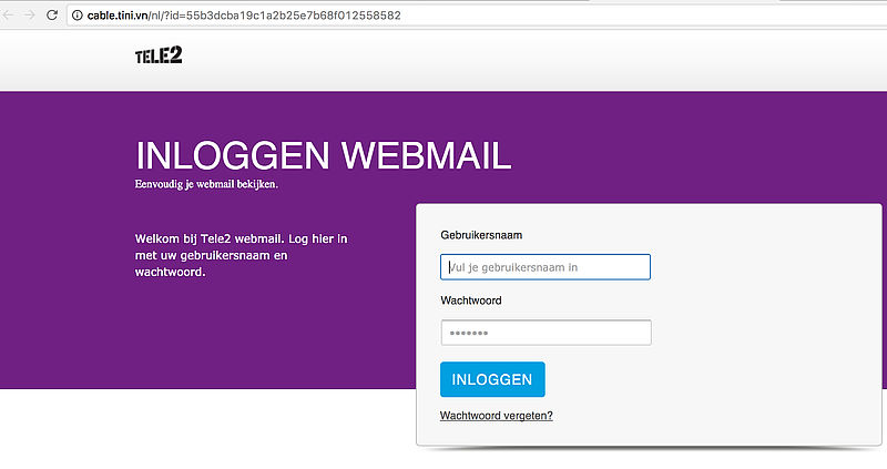 Valse e-mail 'Tele2': account opgeschort