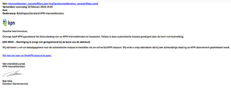 E-mail over betalingsachterstand KPN is nep!