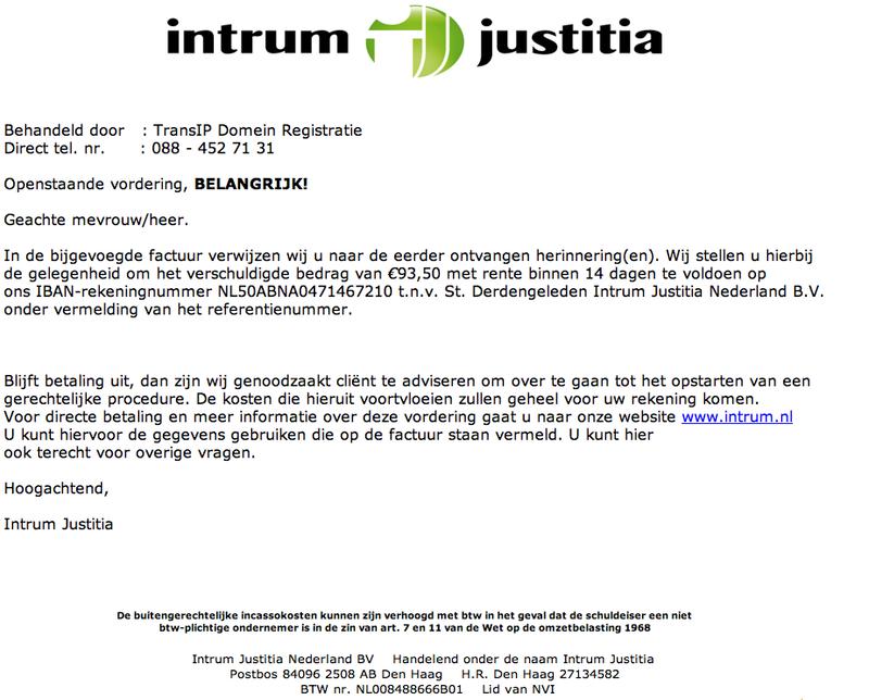 Spookfacturen Intrum Justitia in omloop
