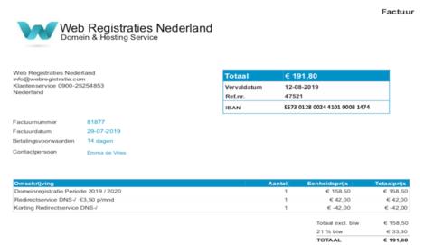 Factuur gekregen van 'Web Registraties Nederland'? Gooi deze gerust weg