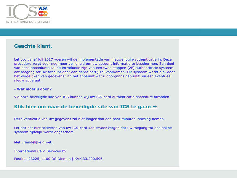 Valse e-mail 'ICS' over 2F-authenticatie in omloop