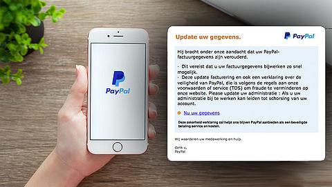 Bericht 'PayPal' over updaten gegevens is phishingmail