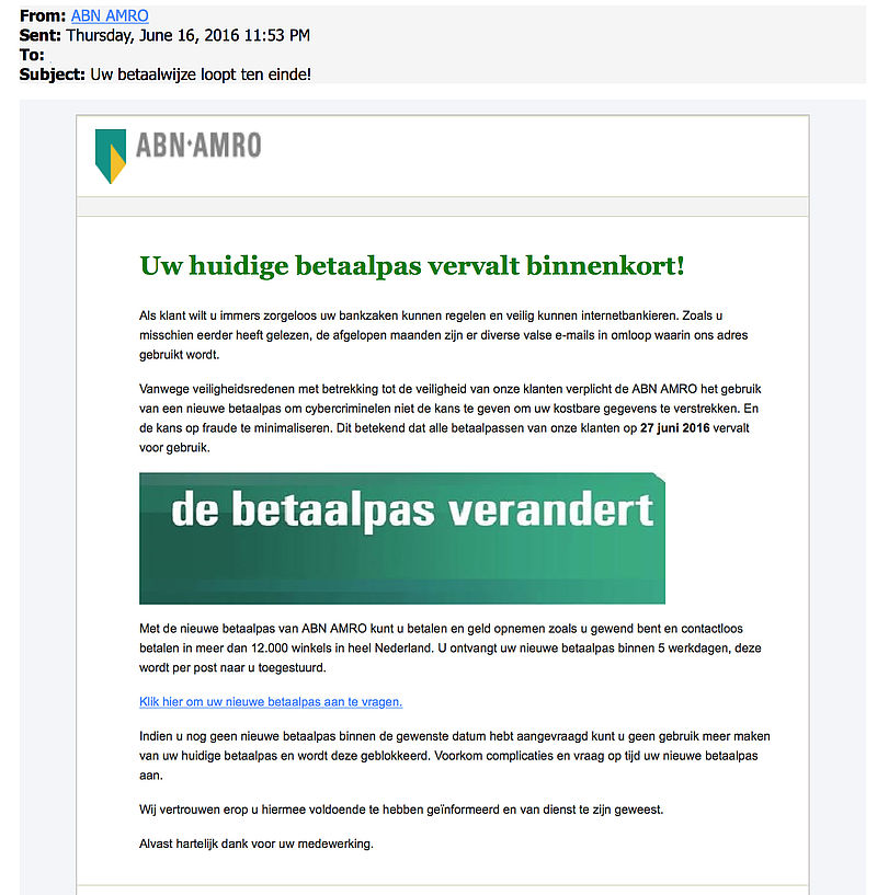 Valse e-mail: 'uw betaalwijze loopt ten einde'