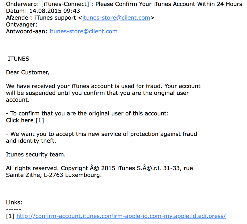 Pas op voor iTunes phishing!