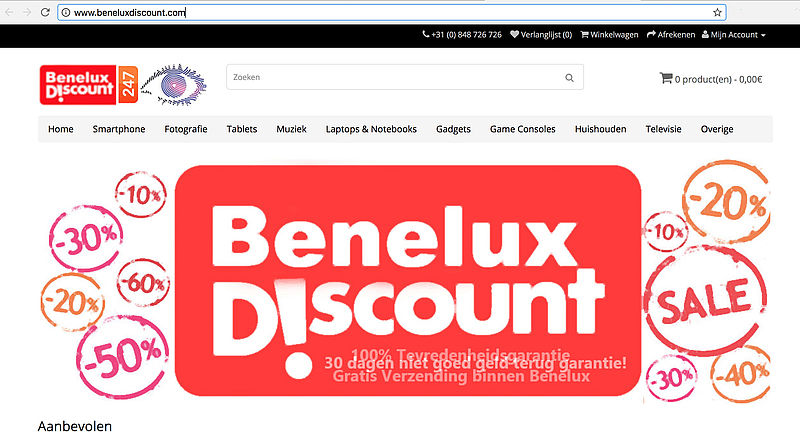 'Beneluxdiscount.com is malafide webshop'