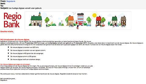 Phishingmail RegioBank: 'Uw digipas vervalt'
